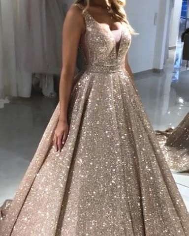 V Neck Sparkly Sequin A-line Long Evening Prom Dresses With Pockets, Cheap Custom Party Prom Dresses, PDS0076