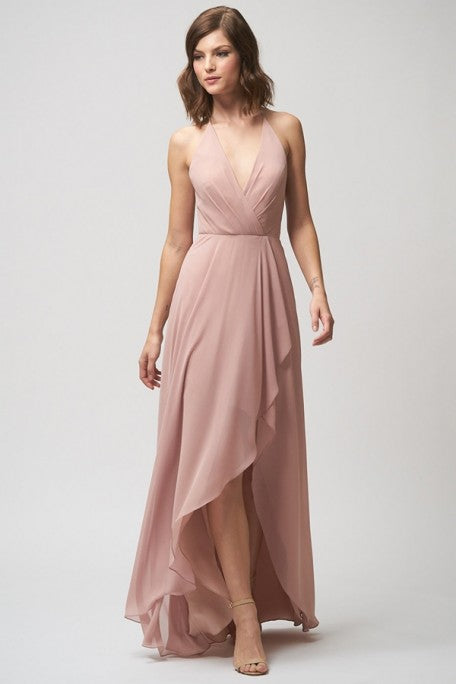 Boho Deep V Neck High Low Pink Chiffon Cheap Bridesmaid Dresses, QB0872