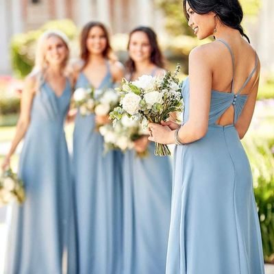 Mismatched Gorgeous V Neck Blue Long Cheap Bridesmaid Dresses, QB0871