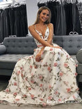 A Line V Neck Spaghetti Straps Flower Lace Long Prom Dresses, QB0586