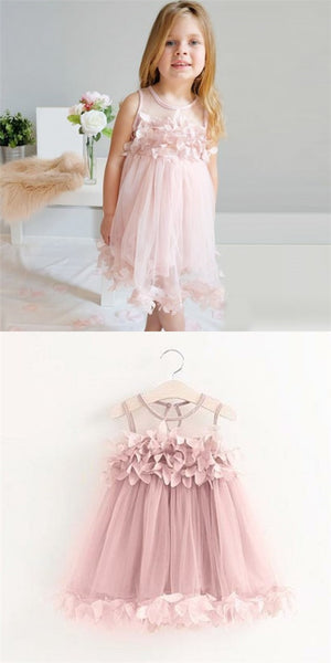 Cute round neck pink tulle cheap flower girl dresses with appliques cute round neck pink tulle cheap flower girl dresses with appliques qb0093 mightylinksfo