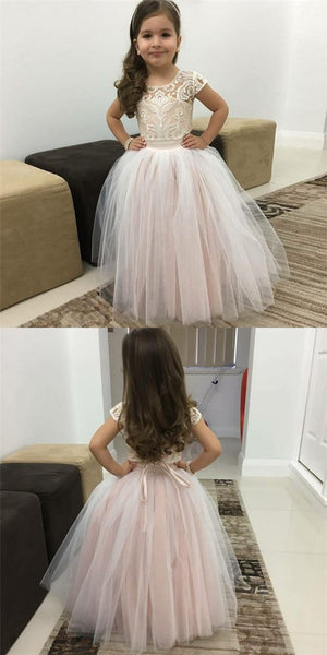 Ball Gown Round Neck Pink Tulle Flower Girl Dresses with Lace&Bow Knot, QB0229