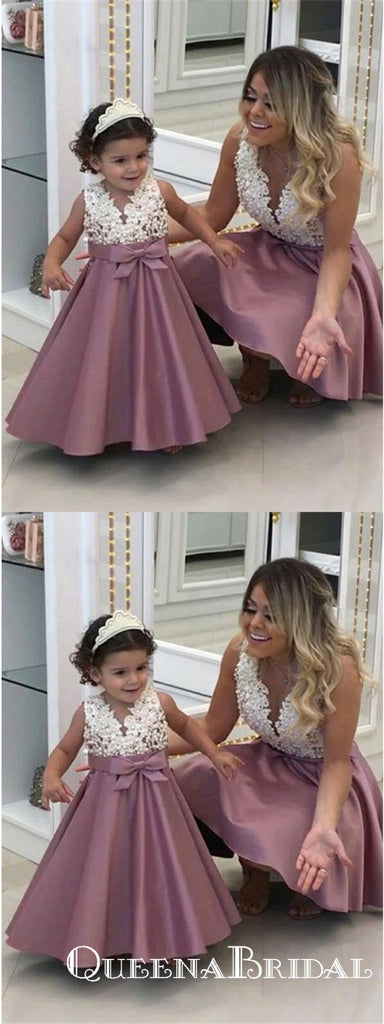 A-Line V-Neck Sleeveless Purple Floor Length Flower Girl Dresses With Applique, QB0829