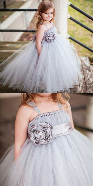 A-Line Square Neck Long Cheap Grey Tulle Flower Girl Dresses with Bow Knot, QB0082