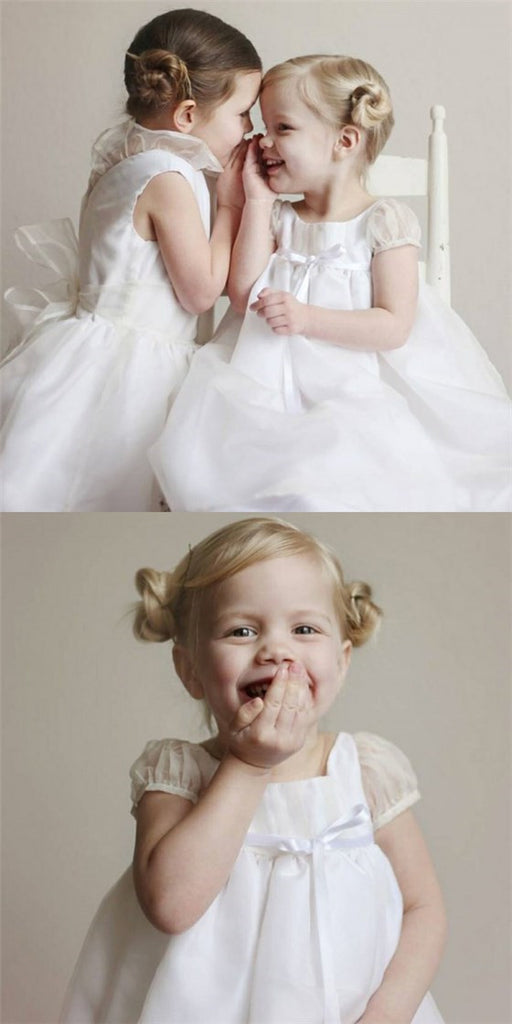 Cute A-Line Round Neck White Tulle Long Cheap Flower Girl Dresses with Bow, QB0096