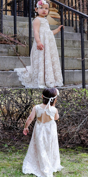Cute Jewel Open Back Sweep Train Ivory Lace Long Cheap Flower Girl Dresses, QB0102