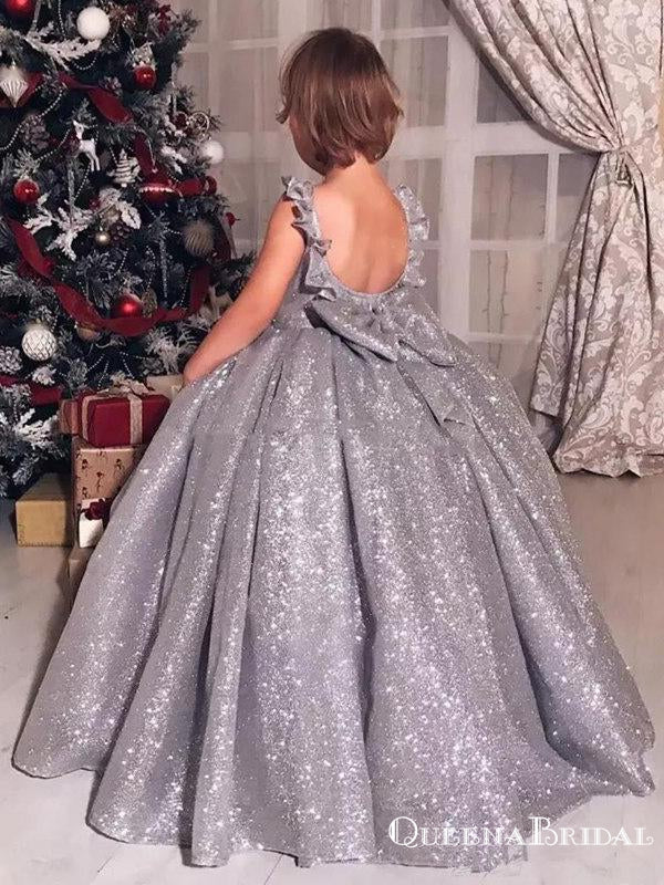 Ball Gown Sparkly Silver Sequin Backless Long Cheap Flower Girl Dresses, FGS0010