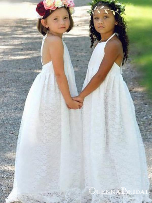 Charming Halter Straps Lace Backless A-line Long Cheap Flower Girl Dresses, FGS0017