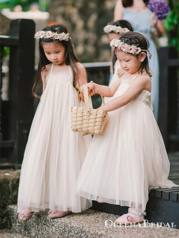 Lovely Halter-Straps Ivory Tulle Long Floor-Length Cheap Flower Girl Dresses, FGS0001