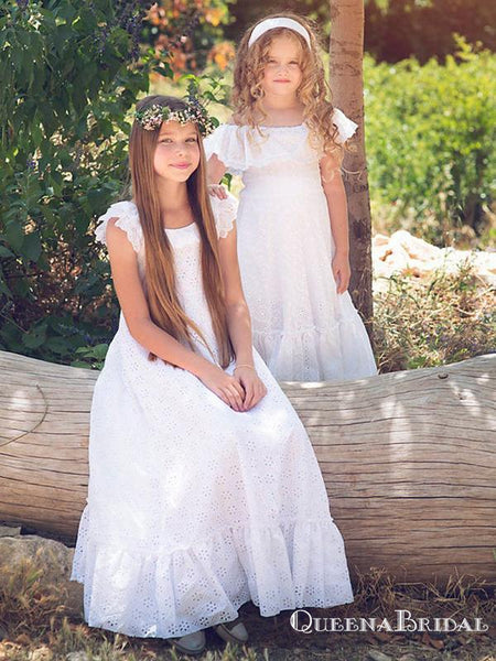 Charming Round Neck Cap Sleeves Lace A-line Long Cheap Flower Girl Dresses, FGS0012