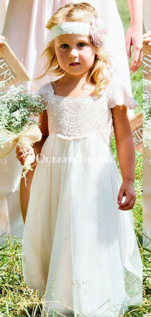 Cute Round Neck Short Sleeves White Long Cheap Flower Girl Dresses with Bow Knot, QB0106