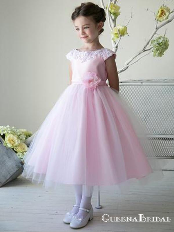 Elegant Bateau Cap Sleeve Pink Tulle A-line Long Cheap Flower Girl Dresses, FGS0021