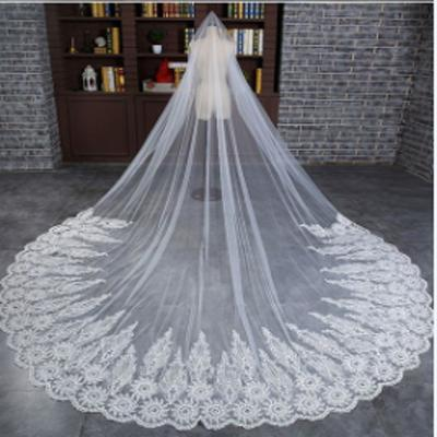 Fabulous Long Lace Applique Wedding Veil For Wedding Party, WV0103