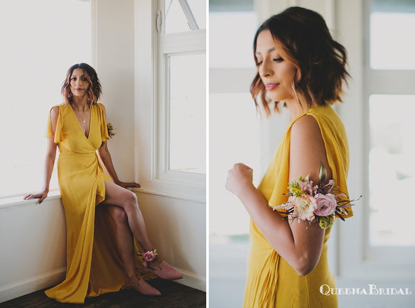 Simple Newest Charming V-neck Yellow Chiffon Long Cheap Bridesmaid Dresses With Side Silp, QB0916