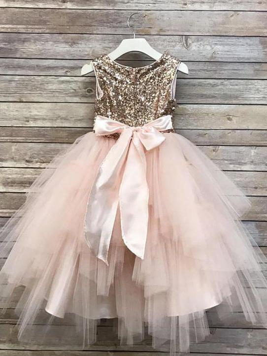 Gold Sequin Flower Girl Dresses Blush Pink Cute Baby Flower Girl Dresses, QB0330