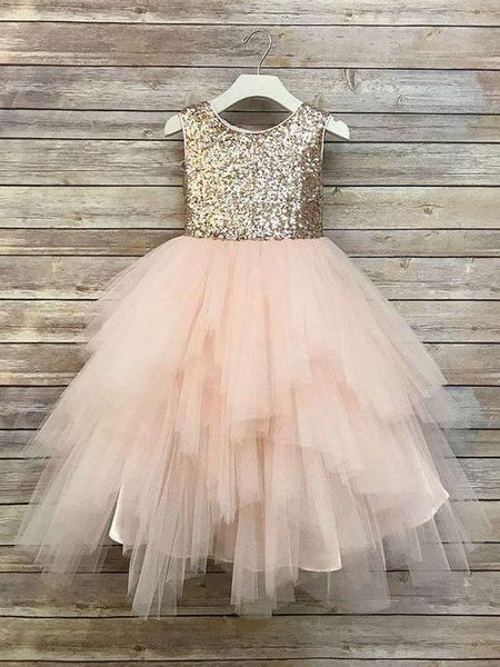 062bcb33e Gold Sequin Flower Girl Dresses Blush Pink Cute Baby Flower Girl Dresses,  QB0330