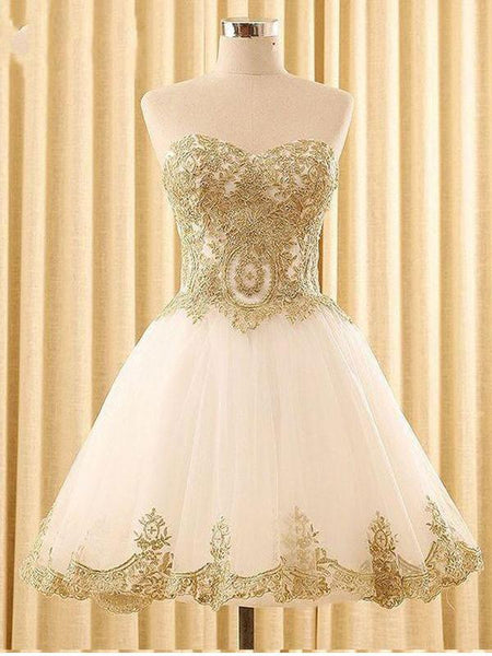 Sweetheart Gold Lace White Tulle Short Cheap Homecoming Dresses Online, CM578
