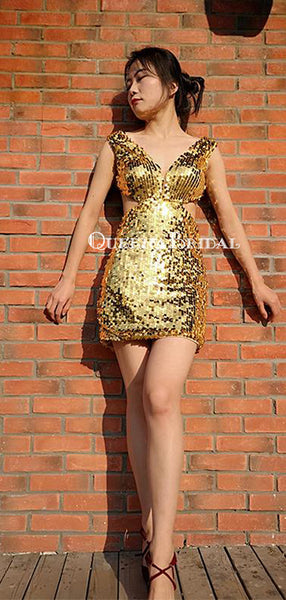 Sparkly Gold Sequin V-neck Mermaid Short Cheap Party Homecoming Dresses, HDS0034