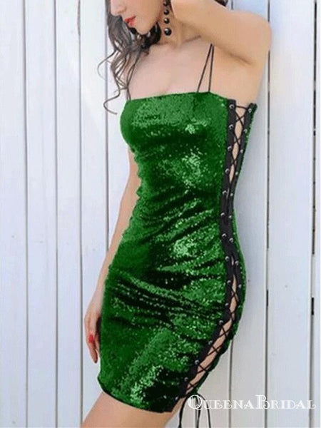 Sexy Spaghetti Straps Green Sequin Short Cocktail Homecoming Dresses, QB0868