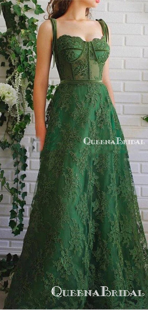Charming Newest Elegant Spaghetti Strap Sleeveless Green Lace A-line Long Cheap Prom Dresses, PDS0018