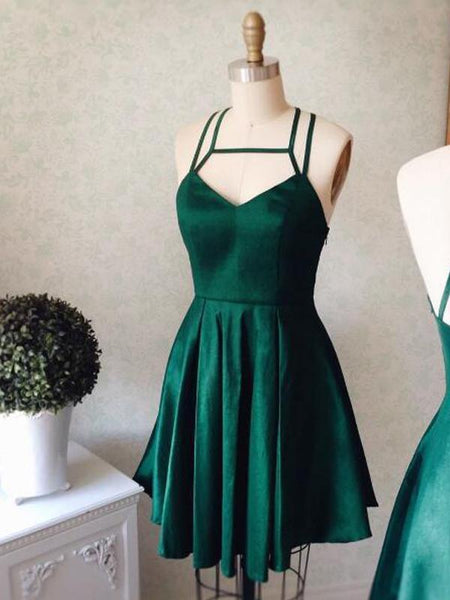 Cheap Simple Spaghetti Straps Emerald Green Homecoming Dresses, CM444