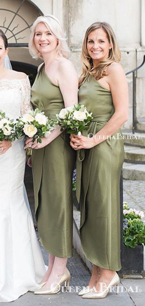 One Shoulder Green Elastic Silk Tea-Length Long Cheap Charming Bridesmaid Dresses, BDS0046
