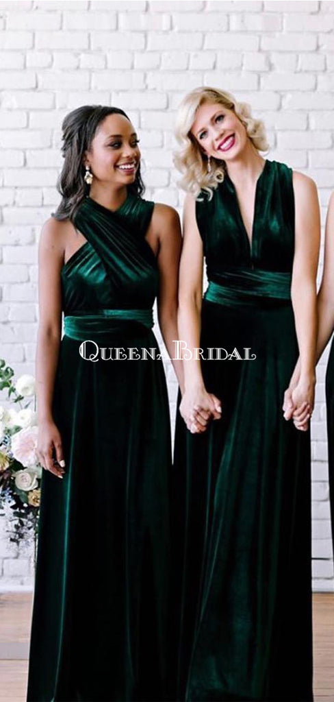 Mismatched Green Velvet Long Cheap Bridesmaid Dresses, BDS0096