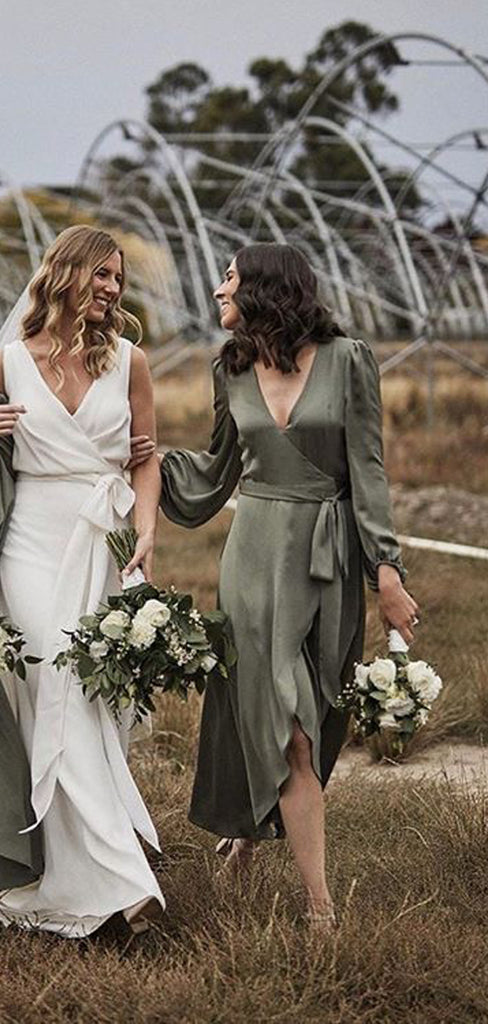 Long Sleeves V-neck Green Tea Length Cheap Bridesmaid Dresses, BDS0116