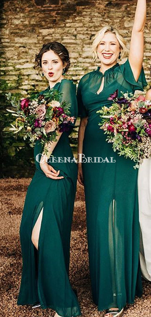 Newest High Neck Short Sleeve Green Chiffon Side Slit Long Bridesmaid Dresses, BDS0110