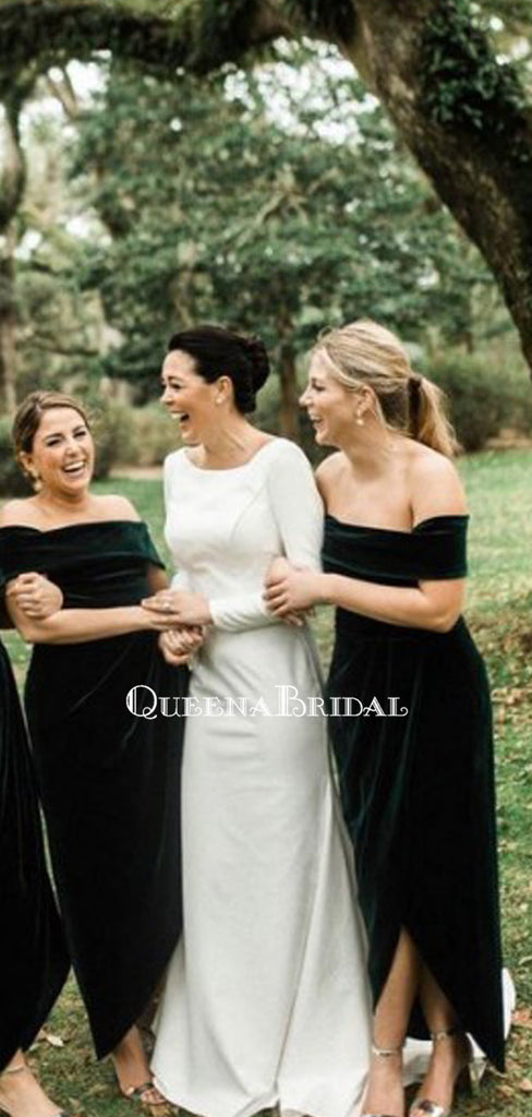 Off-The-Shoulder Green Velvet Long Cheap Bridesmaid Dresses, BDS0120