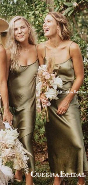 Simple Sexy Spaghetti Strap Green Elastic Silk  Sheath Ankle-Length Cheap Bridesmaid Dresses, BDS0049