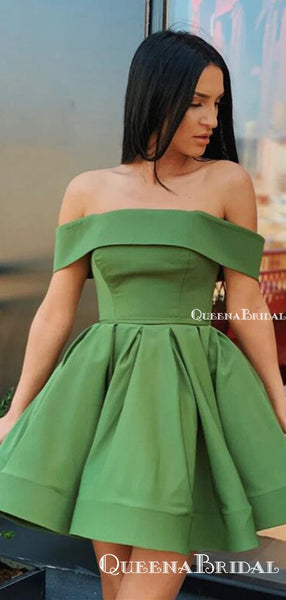 Cute Off Shoulder Short Green Formal Party Homecoming Dresses, HDS0002