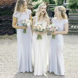 Tight Bateau Cap Sleeve Light Gray Long Cheap Bridesmaid Dresses with Lace, QB0156