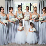 Spaghetti Strap V-Neck  Grey Chiffon Long Cheap Bridesmaid Dresses with Appliques, QB0027