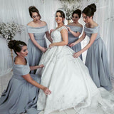 A-Line Off Shoulder Long Cheap Grey Satin Bridesmaid Dresses Online, QB0021