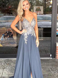 Elegant Spaghetti Straps Grey Beaded Long Evening Prom Dresses, QB0451