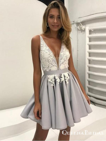 Sexy Deep V-Neck Gray Short Cheap Homecoming Dresses with Appliques, QB0046