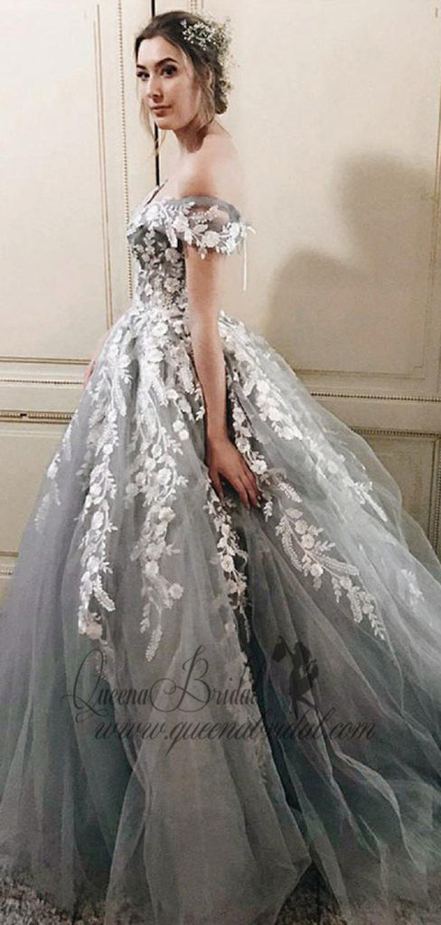 Off Shoulder Grey Lace Beaded A-line Long Evening Prom Dresses, QB0439