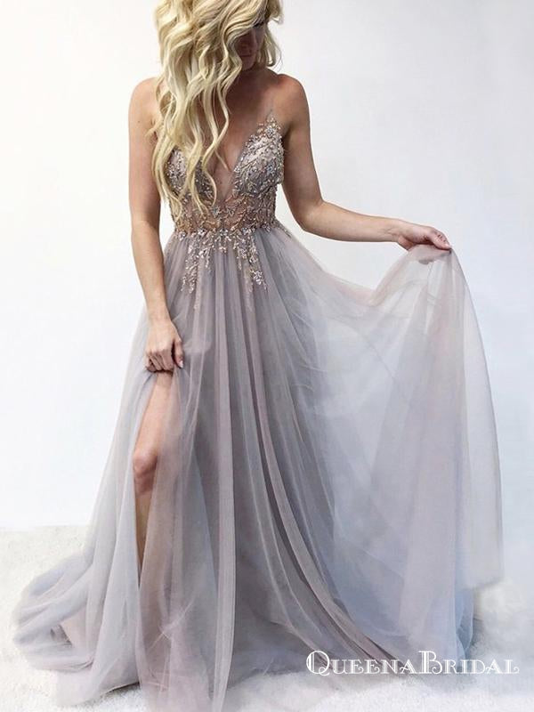 A Line Spaghetti Straps Grey Long Prom Dresses With Beading Split, QB0585