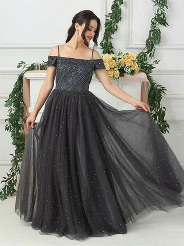 Black Long Off The Shoulder Beading Evening Party Prom Dresses , QB0613