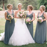 Sexy V-Neck Long Cheap Grey Tulle Bridesmaid Dresses with Lace Applique, QB0125