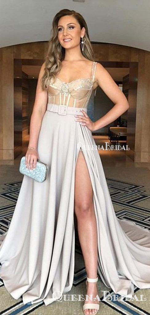New Arrival Spaghetti Strap Sleeveless Sexy Side Slit Grey A-line Long Cheap Formal Evening Prom Dresses, PDS0062