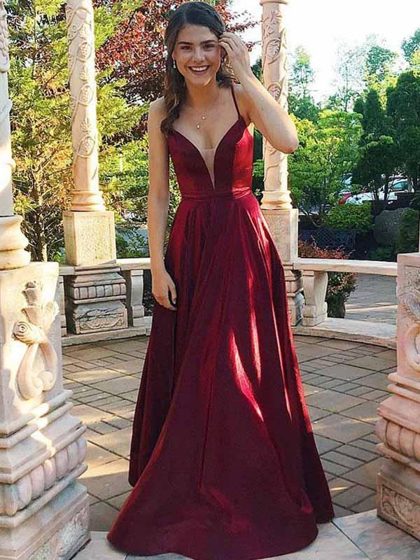 2019 Simple Maroon Halter A-line Long Evening Prom Dresses, QB0410