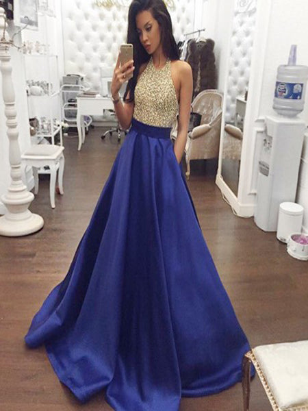 A-Line Halter Backless Royal Blue Satin Prom Dresses with Beading&Pockets, QB0235