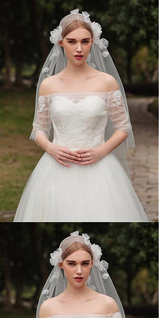 Fashionable Tulle Short Wedding Veil With Flowers,WV0120