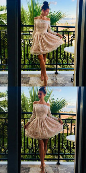 Cute Off-Shoulder Lace Long Sleeves Cheap Short Homecoming Dresses, QB0214