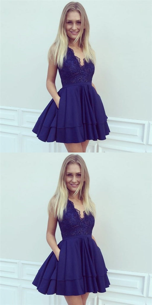 A-Line V-Neck Short Dark Blue Cheap Homecoming Dresses with Lace Pocket, QB0054