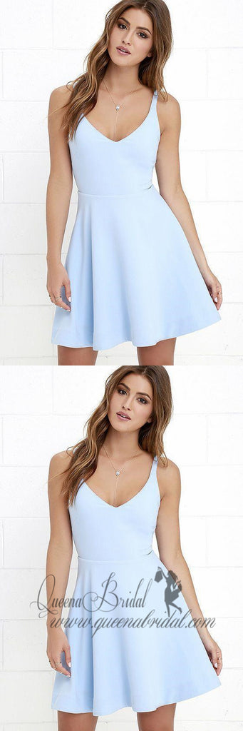 V Neck Light Blue Cheap 2018 Homecoming Dresses Under 100, CM403