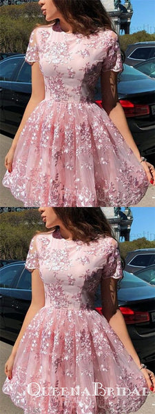 Elegant Short Sleeve Pink Lace Mini Party Gowns Homecoming Dresses, QB0839