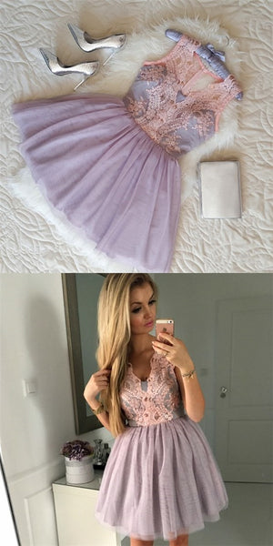 Pretty V-Neck Short Cheap Lavender Homecoming Dresses with Lace Applique, QB0196